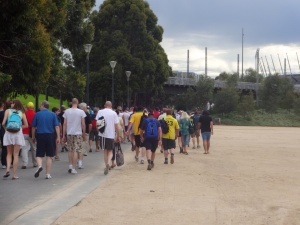 The crowds heading to the MCG