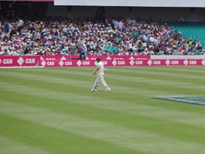 Michael Clarke departs the field after being out for 10 on the morning of day 1 with England on top